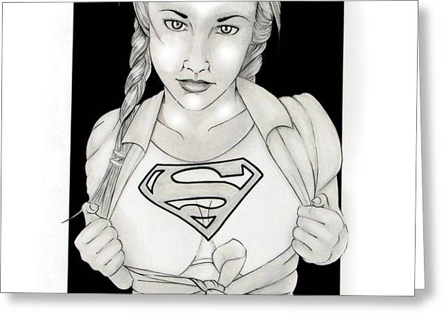 Supergirl Greeting Card by Nathan  Miller