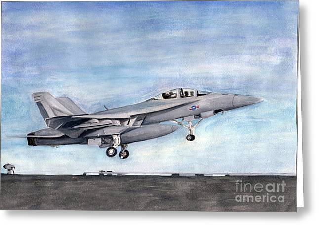 Superhornet Greeting Card by Sarah Howland-Ludwig