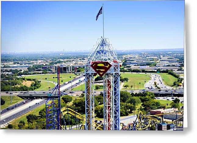 SuperMan and Dallas Greeting Card by Malania Hammer