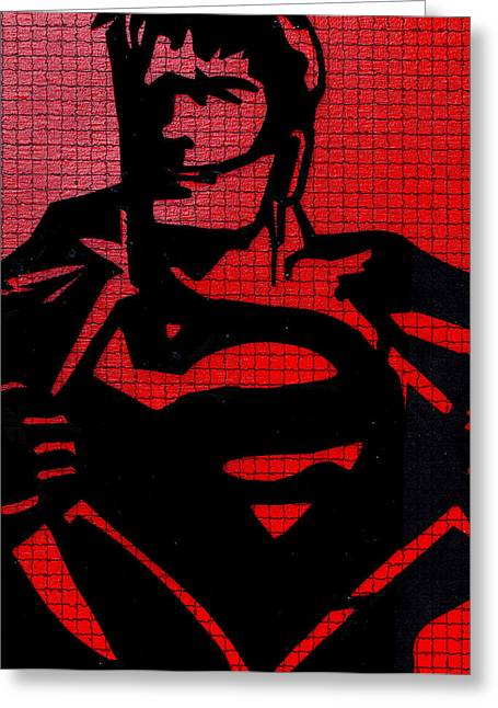 Gotham City Drawings Greeting Cards - Superman On His Bluetooth Greeting Card by Robert Margetts