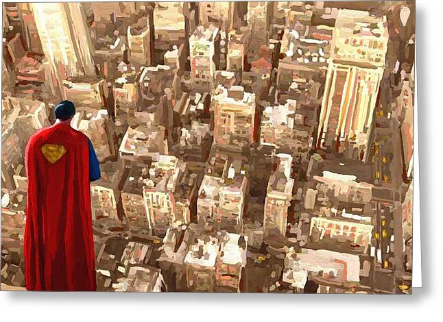 Leon Jimenez Greeting Cards - Superman Over Metropolis Signed Prints available at laartwork.com Coupon Code KODAK Greeting Card by Leon Jimenez