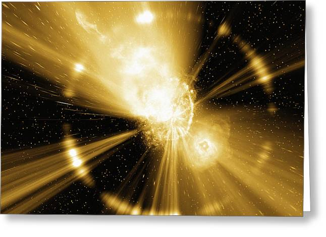 Astrophysical Greeting Cards - Supernova Explosion, Computer Artwork Greeting Card by Mehau Kulyk