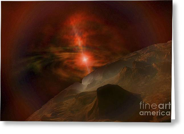 Star Valley Greeting Cards - Supernova Lights This Alien Planet Greeting Card by Corey Ford