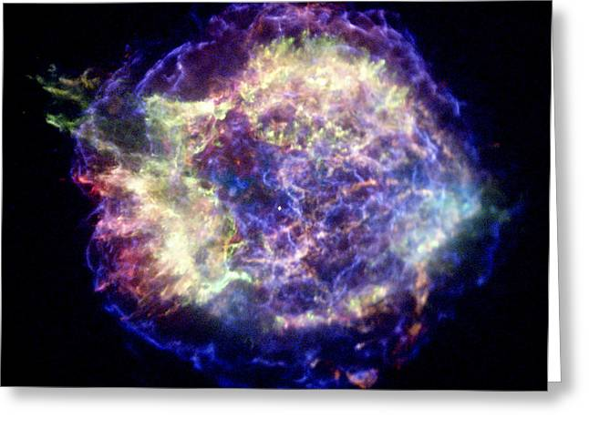 Cassiopeia Constellation Greeting Cards - Supernova Remnant Cassiopeia A, X-ray Greeting Card by Nasacxcuniv. Of Mass