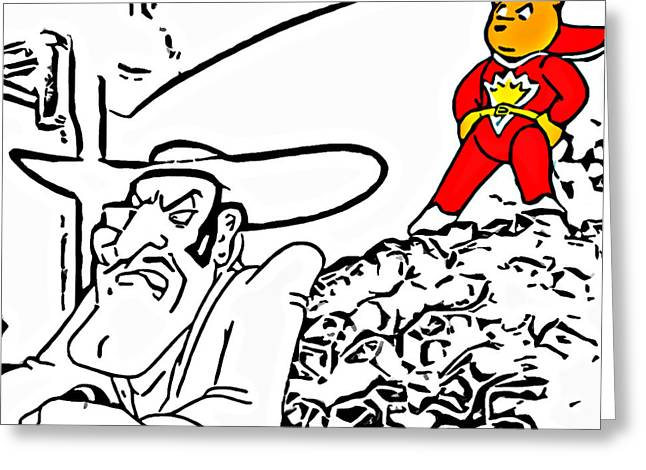 Bad Drawing Greeting Cards - Superted and Texas Pete Greeting Card by Rpics Rpics