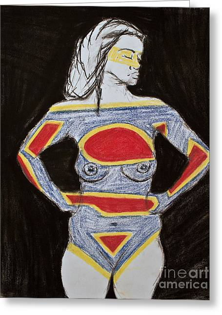 Superwoman Greeting Cards - Superwoman Greeting Card by Cassandra Ronning