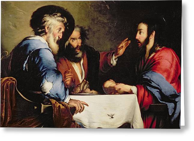 Table-cloth Greeting Cards - Supper at Emmaus Greeting Card by Bernardo Strozzi