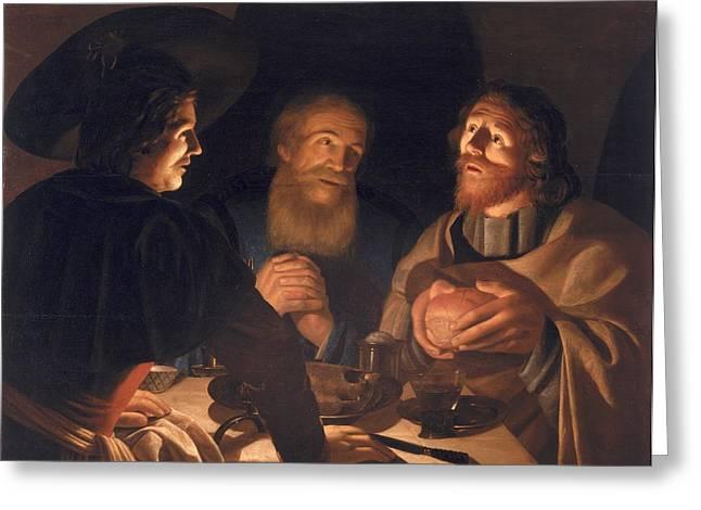 Eucharist Greeting Cards - Supper at Emmaus Greeting Card by Cryn Hendricksz Volmaryn