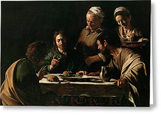 Faith Paintings Greeting Cards - Supper at Emmaus Greeting Card by Michelangelo Merisi da Caravaggio