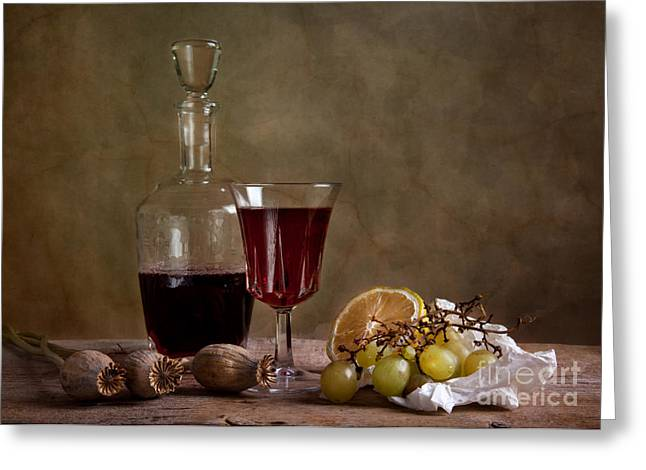Goblet Greeting Cards - Supper with Wine Greeting Card by Nailia Schwarz