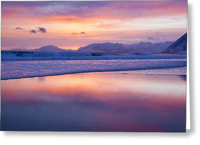 Kodiak Greeting Cards - Surf and Sunset Greeting Card by Tim Grams