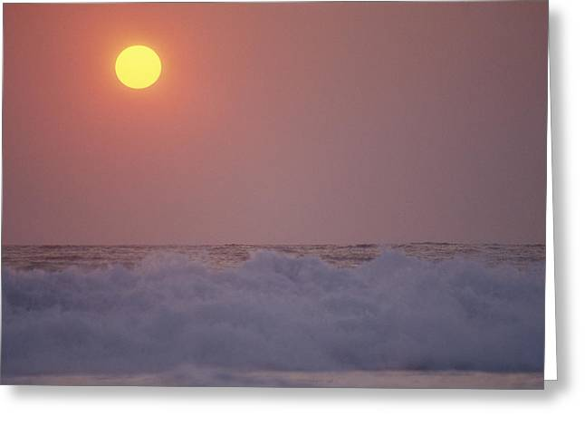 Surf Breaks On A Puerto Escondido Beach Greeting Card by Raul Touzon