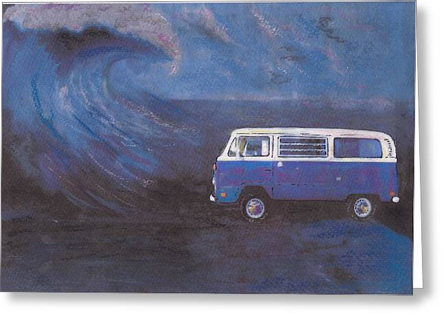 Historic Vehicle Pastels Greeting Cards - surf Bus Greeting Card by Sharon Poulton
