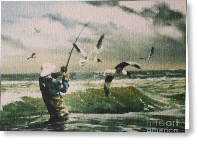 Bill Hubbard Greeting Cards - Surf Casting for Striped Bass at Gull Rock Greeting Card by Bill Hubbard