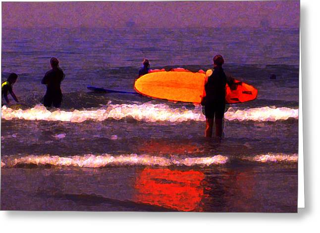 Surf Lessons Greeting Card by Ron Regalado