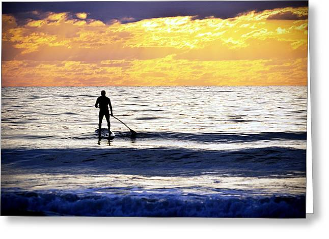 Surf Silhouette Greeting Cards - Surf Paddling in Cocoa Greeting Card by Vicki Jauron
