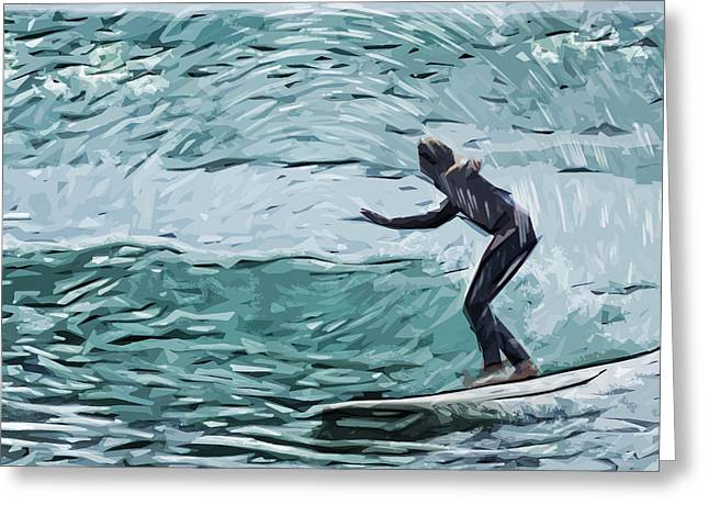 Surfer Art Digital Art Greeting Cards - Surf Greeting Card by Tilly Williams