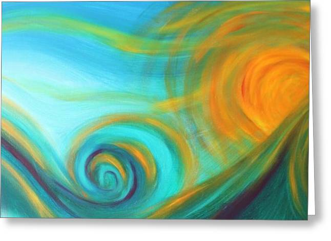 Surf Lifestyle Paintings Greeting Cards - Surf Up at Sun Down Greeting Card by Reina Cottier