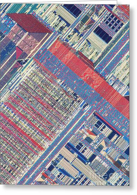 Microprocessor Greeting Cards - Surface Of Integrated Chip Greeting Card by Michael W. Davidson