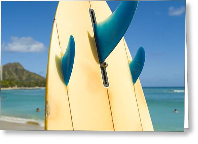 Surfboard Greeting Card by Dana Edmunds - Printscapes
