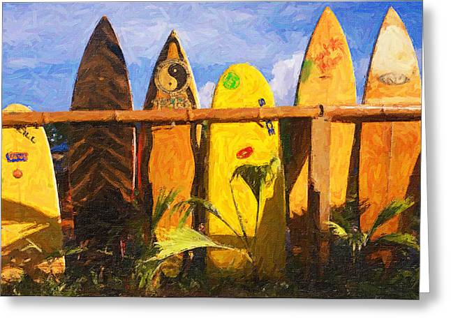 Bamboo Fence Greeting Cards - Surfboard Garden Greeting Card by Ron Regalado