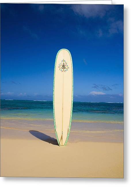 Surfing Art Greeting Cards - Surfboard stuck into the sand Greeting Card by Tomas del Amo - Printscapes