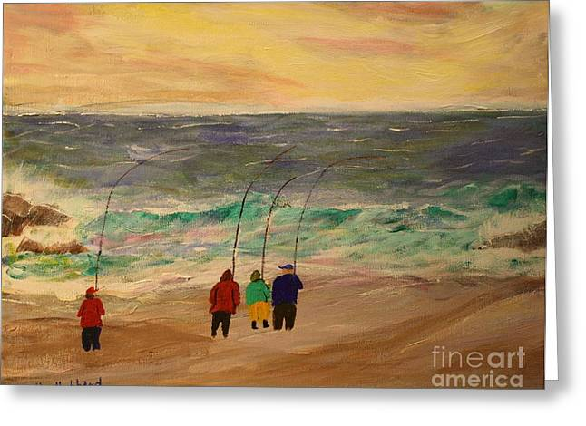 Bill Hubbard Greeting Cards - Surfcasters at Sunrise Greeting Card by Bill Hubbard