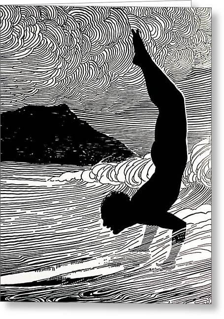 Surfing Art Paintings Greeting Cards - Surfer and Waikiki Greeting Card by Hawaiian Legacy Archive - Printscapes