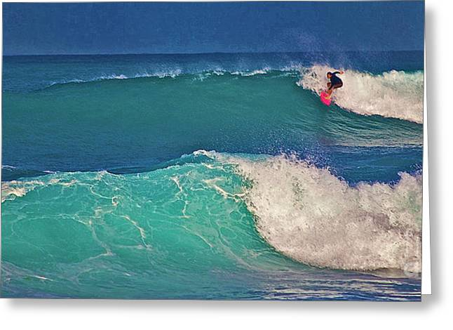 Surfing Photos Greeting Cards - Surfer at Aneahoomalu Bay Greeting Card by Bette Phelan