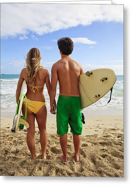 Holden Beach Greeting Cards - Surfer Couple Greeting Card by Tomas del Amo