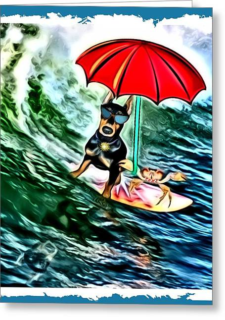 Pets Greeting Cards - Surfer Dude with Shades Greeting Card by Tisha McGee