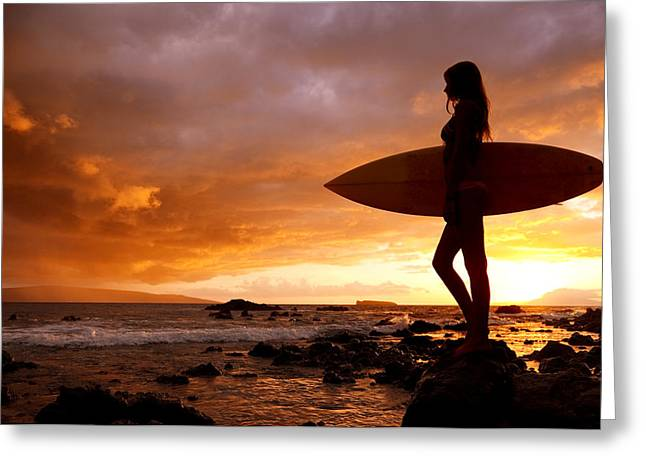 Surfing Art Greeting Cards - Surfer Girl and Makena Sunset II Greeting Card by MakenaStockMedia
