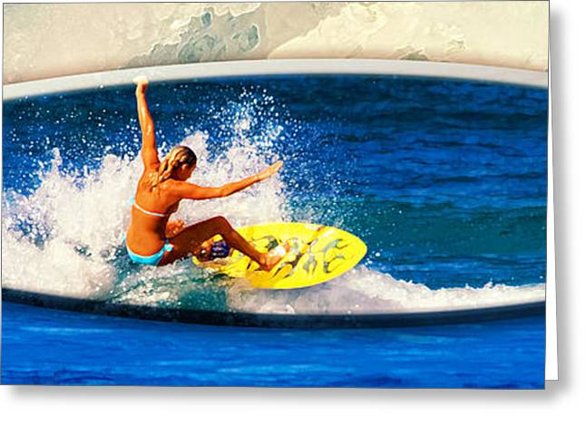 Sponsor Greeting Cards - Surfer Girl at Rocky Point Photo Board Greeting Card by Ron Regalado