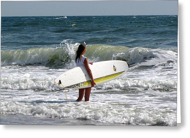 Virginia Beach Greeting Cards - Surfer Girl at Virginia Beach Greeting Card by Janice Paige Chow