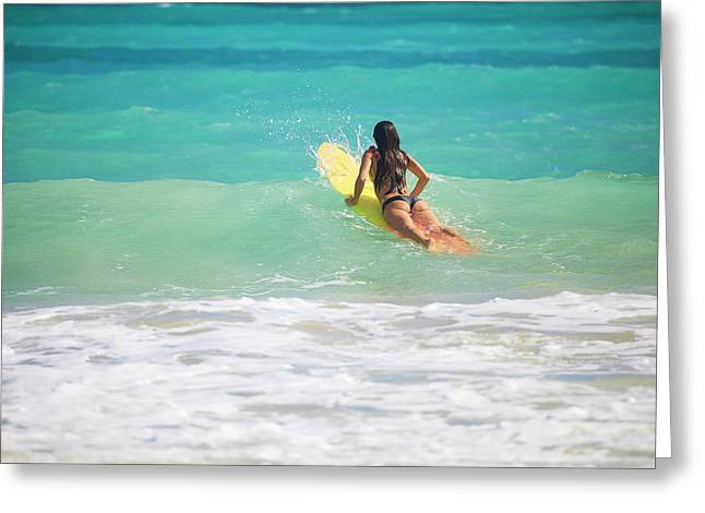 Surfing Art Greeting Cards - Surfer Girl Paddling Out Greeting Card by Tomas Del Amo - Printscapes