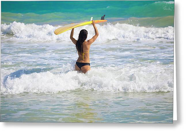 Skinny Greeting Cards - Surfer Girl Greeting Card by Tomas Del Amo - Printscapes