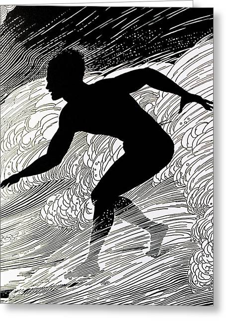 Surfing Art Paintings Greeting Cards - Surfer Greeting Card by Hawaiian Legacy Archive - Printscapes