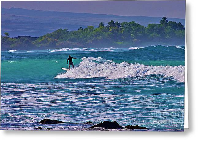 Surfing Photos Greeting Cards - Surfer Rides the Outside Break Greeting Card by Bette Phelan