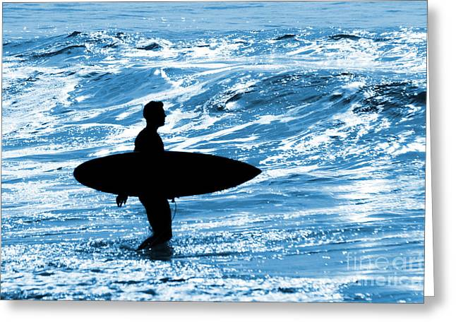 Sunny Beach Waves Greeting Cards - Surfer Silhouette Greeting Card by Carlos Caetano