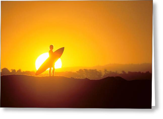 Surfing Art Greeting Cards - Surfer Silhouetted At Sun Greeting Card by Erik Aeder - Printscapes