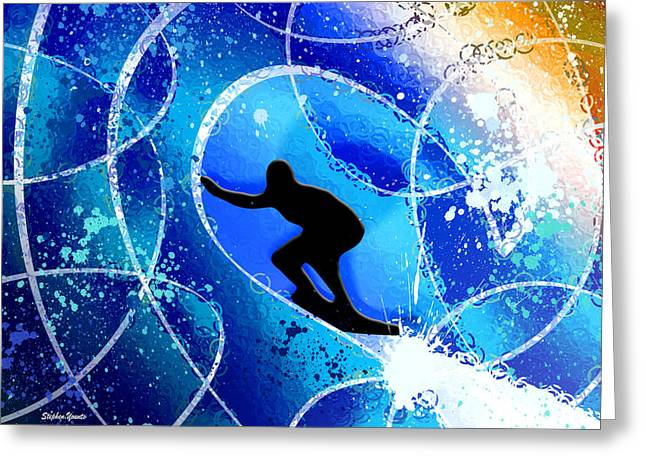 Costa Digital Greeting Cards - Surfer Greeting Card by Stephen Younts
