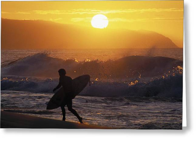 Surfing Art Greeting Cards - Surfer Walking At Sunset Greeting Card by Ali ONeal - Printscapes