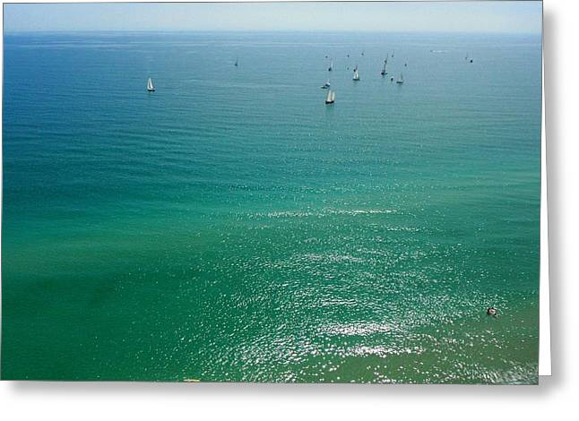 Surfers And Sailors Greeting Card by Jonathan Mojica