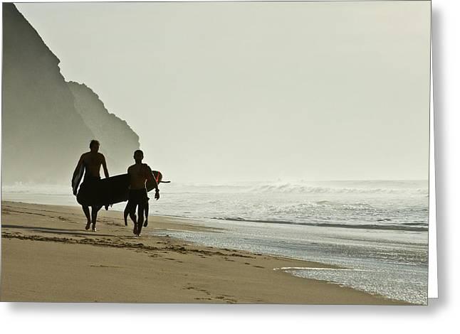 Surfers Greeting Card by Daniel Kulinski