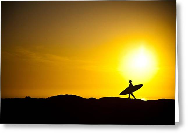Sunrise. Water Greeting Cards - Surfers Dawn Greeting Card by Zarija Pavikevik
