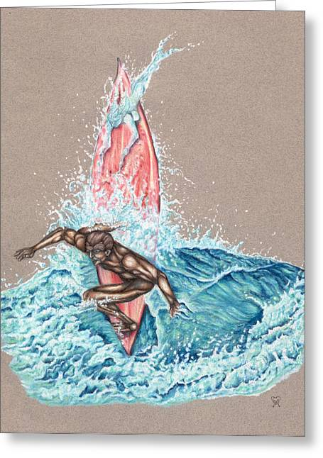 Pencil Drawing Greeting Cards - Surfers Lover Greeting Card by Karen Musick