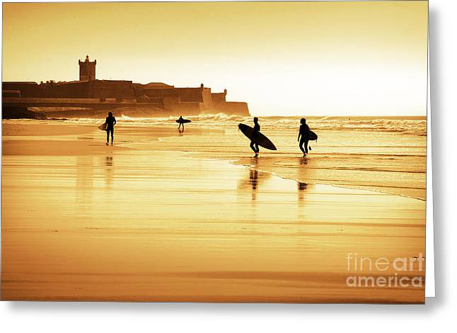 Sports Action Greeting Cards - Surfers silhouettes Greeting Card by Carlos Caetano
