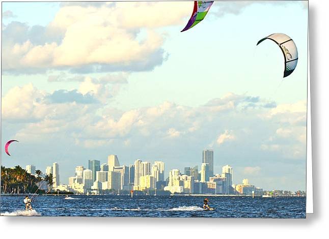 Kite Surfing Greeting Cards - Surfin Miami Greeting Card by Dieter  Lesche
