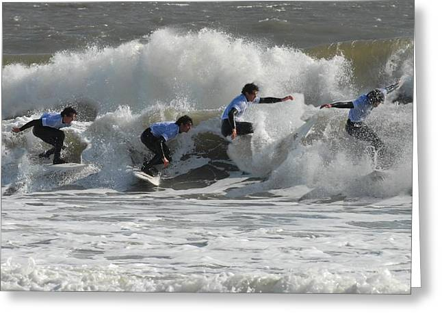 Kahuna Beach Greeting Cards - Surfing 219 Greeting Card by Joyce StJames
