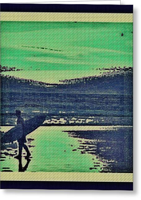 Surf Silhouette Digital Art Greeting Cards - Surfing at Sunset Greeting Card by Tisha McGee